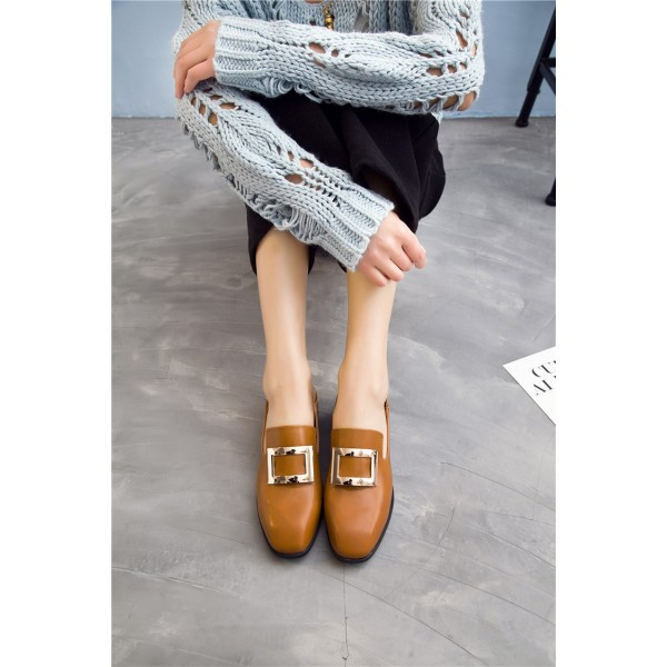 Tan Vintage Shoes Slip-on Loafers Comfortable Flats  image 1