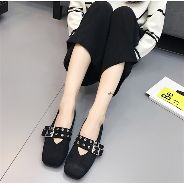 Women's Black Square Toe Buckle Vintage Comfortable Flats image 2