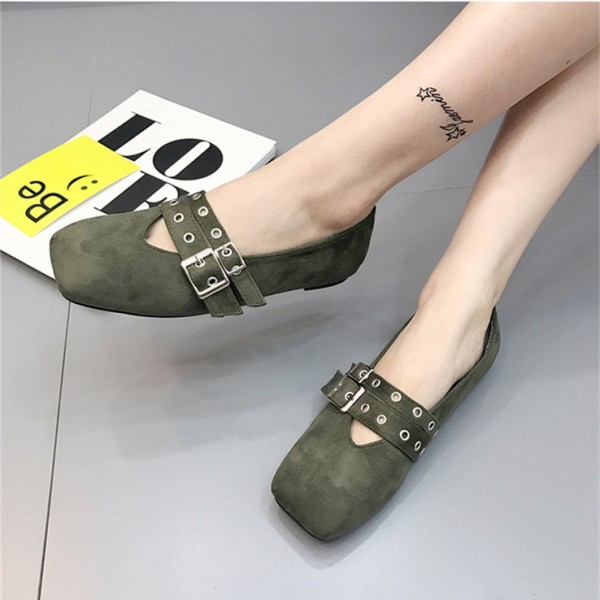 Green Vintage Shoes Square Toe Studded Buckles Comfortable Flats image 1