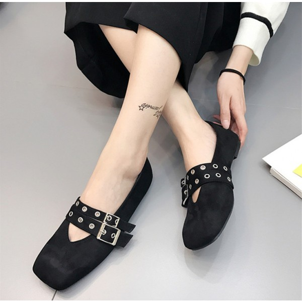 Women's Black Square Toe Buckle Vintage Comfortable Flats image 1