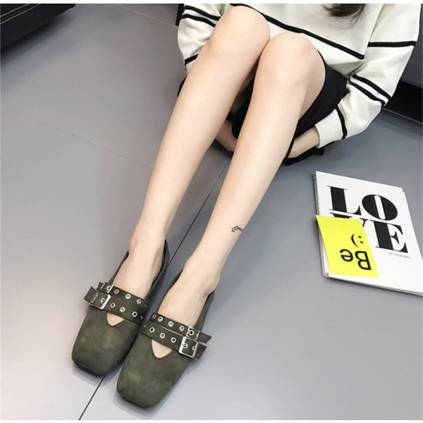 Green Vintage Shoes Square Toe Studded Buckles Comfortable Flats image 3