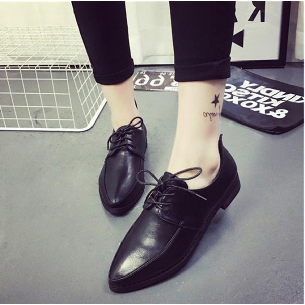 Black Women's Oxfords Lace-up Flats Vintage Shoes image 3
