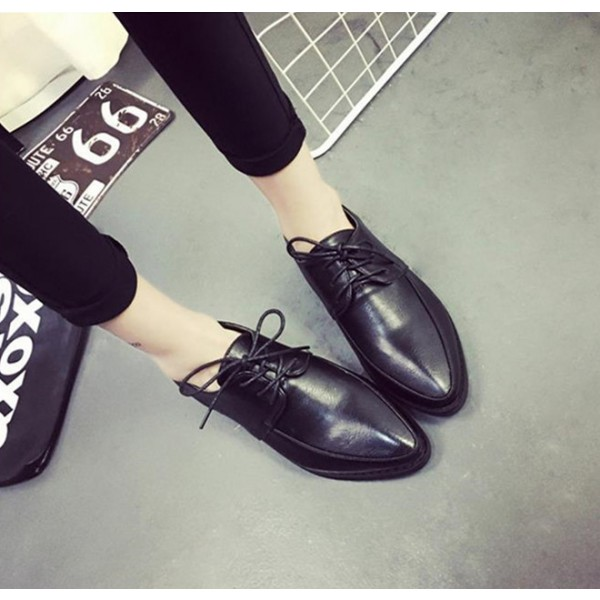 Black Women's Oxfords Lace-up Flats Vintage Shoes image 2