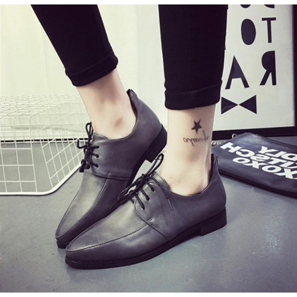 Women's Grey Point Toe Lace Up Vintage Comfortable Flats image 1