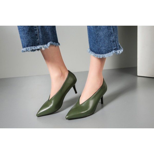 Green Vintage Heels Pointy Toe Women's Kitten Heel Pumps image 2