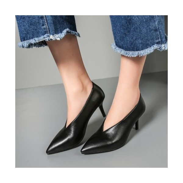 Women's Black Pointy Toe Low-cut Commuting Stiletto  Heels Vintage Shoes image 1