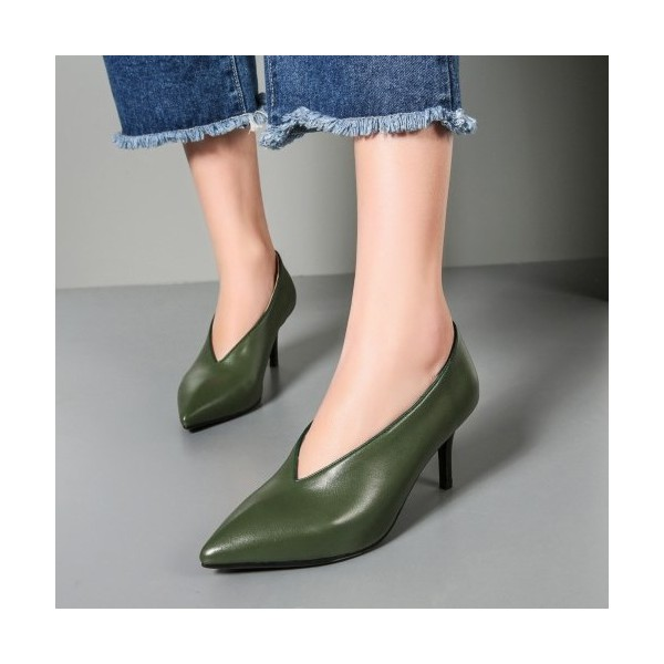 Green Vintage Heels Pointy Toe Women's Kitten Heel Pumps image 1