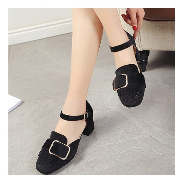 Black Vintage Heels Square Toe Chunky Heels Pumps with Buckle image 1