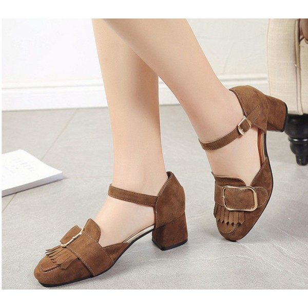 Brown Vintage Heels Fringe Square Toe Suede Shoes Chunky Heel Pumps image 2