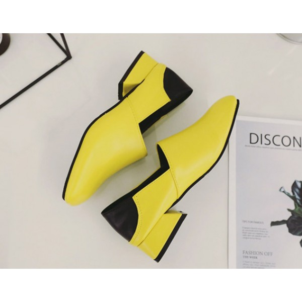 Yellow Comfortable Shoes Square Toe Chunky Heel Pumps image 2