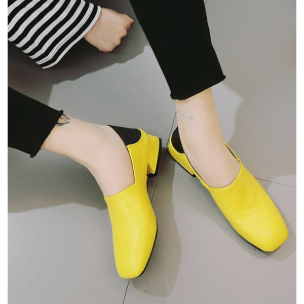 Yellow Comfortable Shoes Square Toe Chunky Heel Pumps image 1