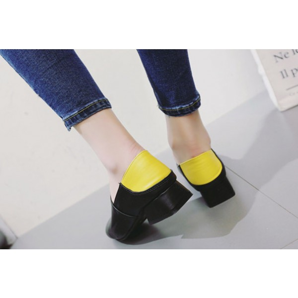 Women's Black Square Toe Commuting Vintage Comfortable Flats image 2