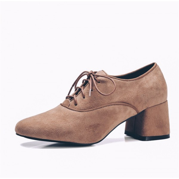 Brown Vintage Shoes Chunky Heel Lace up Suede Heeled Oxfords image 1