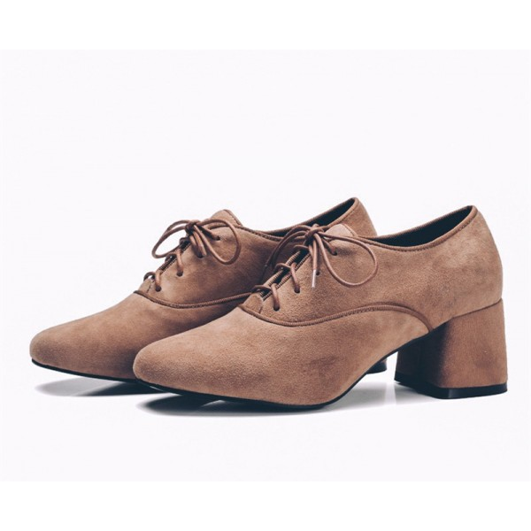 Brown Vintage Shoes Chunky Heel Lace up Suede Heeled Oxfords image 2