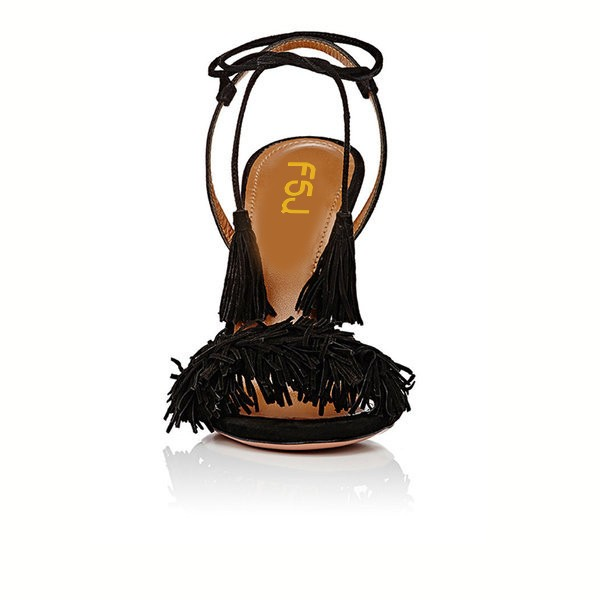 Black Tassel Sandals Open Toe Fringe Stiletto Heels image 3