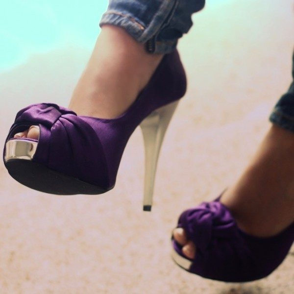 Women's Purple Low-cut Uppers Platform Cone Heel Pumps  image 1