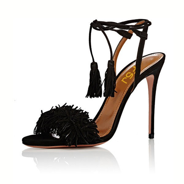Black Tassel Sandals Open Toe Fringe Stiletto Heels image 4