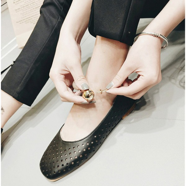 Women's Black Pearl Hollow Out Square Toe Vintage Comfortable Flats image 3
