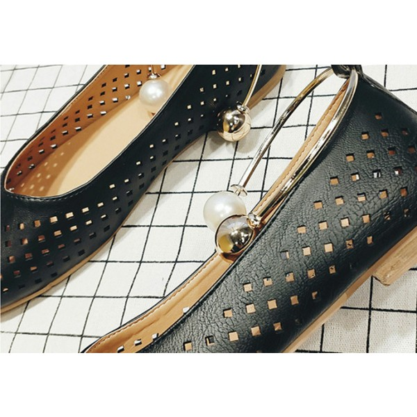 Women's Black Pearl Hollow Out Square Toe Vintage Comfortable Flats image 4