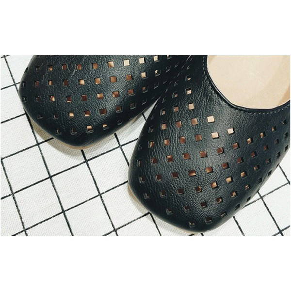 Women's Black Pearl Hollow Out Square Toe Vintage Comfortable Flats image 2