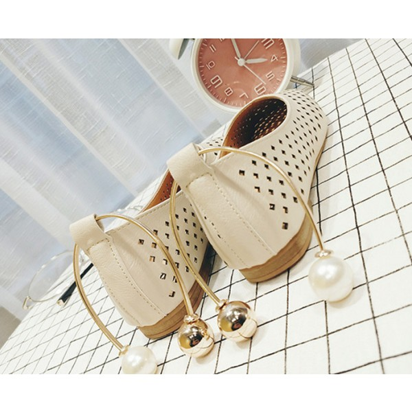 Women's Beige Square Toe Hollow Out Vintage Comfortable Flats image 2