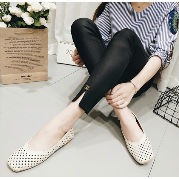 Women's Beige Square Toe Hollow Out Vintage Comfortable Flats image 3