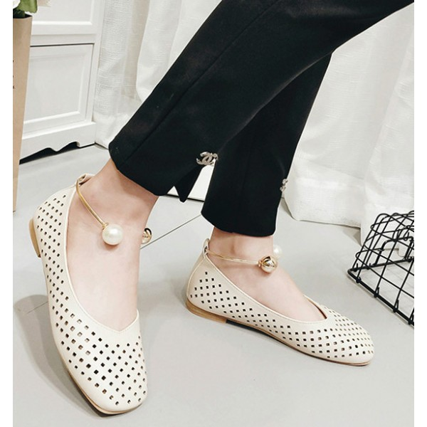 Women's Beige Square Toe Hollow Out Vintage Comfortable Flats image 1