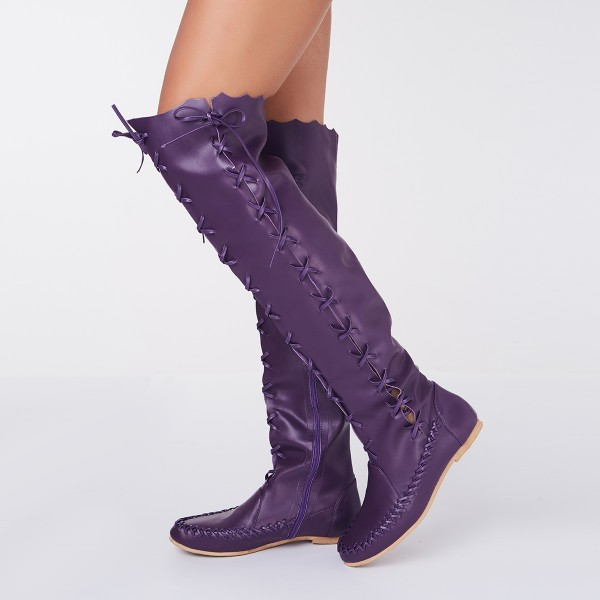 Women's Purple with Strappy Lace-up Vintage Boots image 1