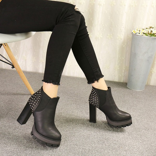 Black Chelsea Boots Studded Platform High Heel Shoes image 2