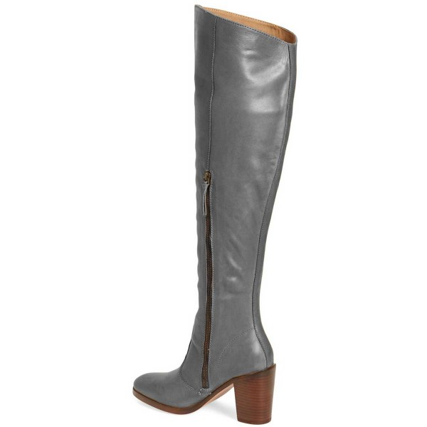Grey Knee Boots Round Toe Chunky Heel Boots by FSJ image 3