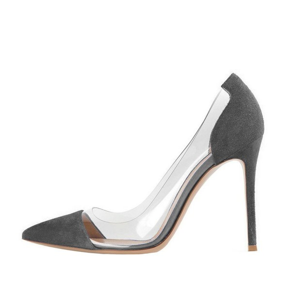 Women's Clear Heels Dark Grey Suede Pointy Toe Stiletto Heels Pumps image 3