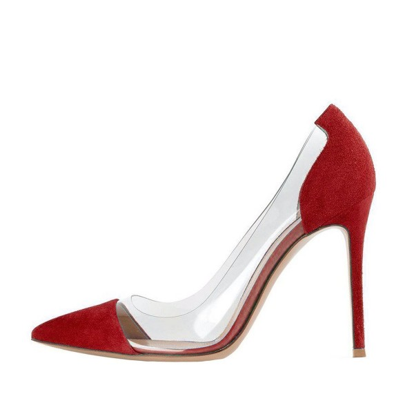 Women's Clear Heels Red Suede 3 Inch Heels Stilettos Heels Pumps ...