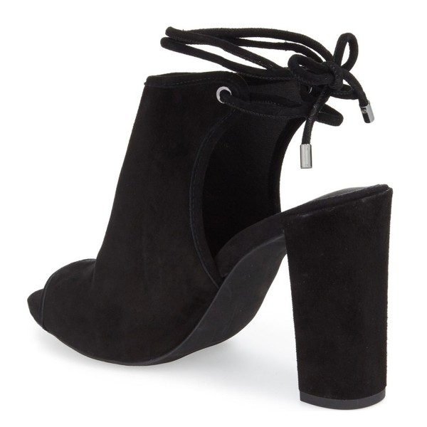 Leila Black Chunky Heel Open Toe Boots Slingback Summer Ankle Booties image 3