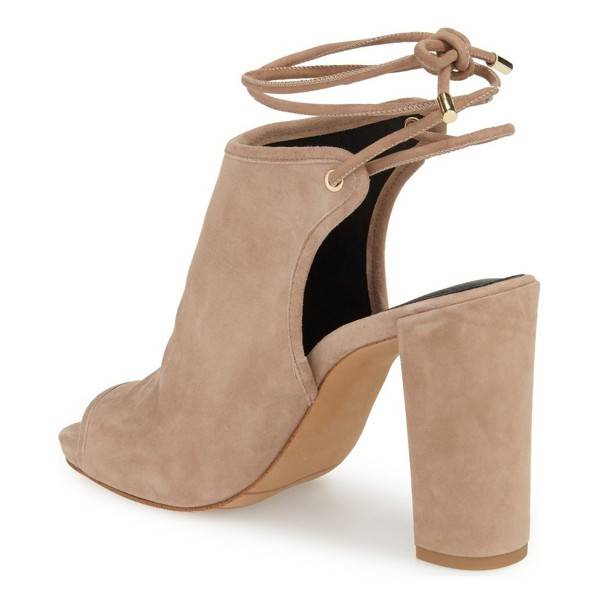 Khaki Slingback Shoes Suede Peep Toe Ankle Booties image 3