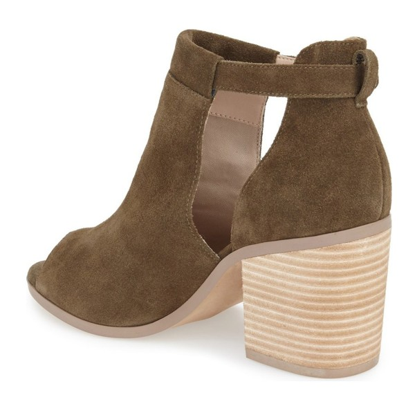 FSJ Brown Cut Out Boots Suede Wooden Block Heel Peep Toe Ankle Boots image 3
