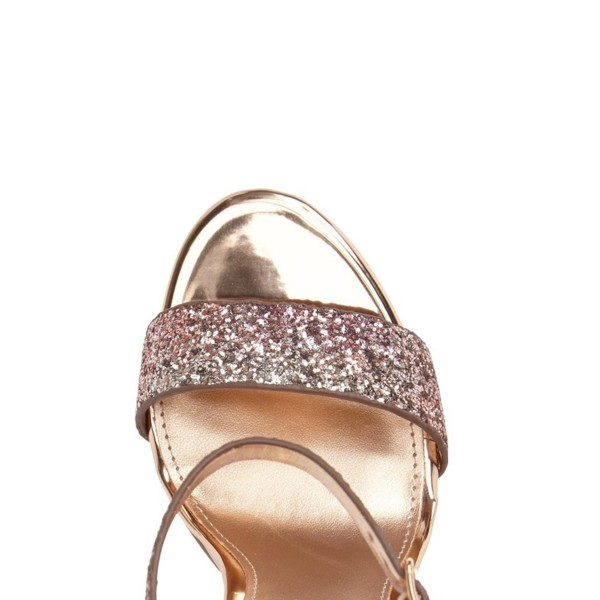 Pink Glitter Gradient Color Dazzling Chunky Heels Sandals image 3