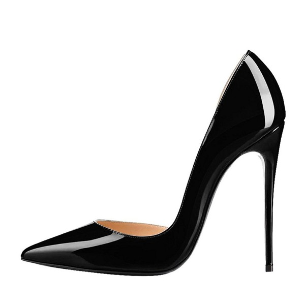 Black Office Heels Patent Leather Pointy Toe Stiletto Heels Pumps image 4