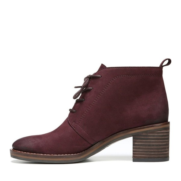 Women's Maroon Lace-up Hiking Vintage Chunky Heel  Boots image 3