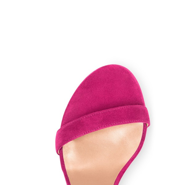 Fuchsia Chunky Heel Sandals Ankle Strap Heels image 2