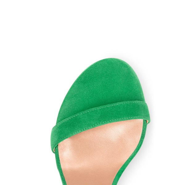 Women's Green Suede Open Toe Chunky Heels Ankle Strap Sandals image 3