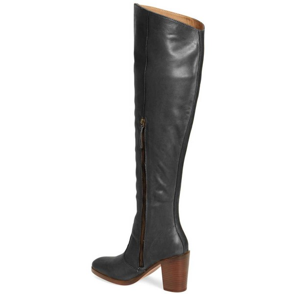 FSJ Black Tall Boots Round Toe Block Heel Knee Boots image 2
