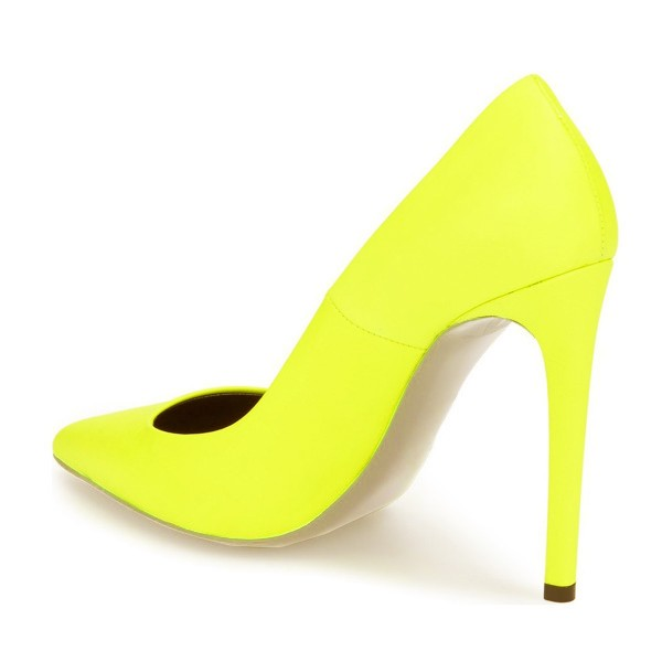 On Sale Neon Yellow Vegan Shoes Pointy Toe Stiletto Heel Pumps image 5