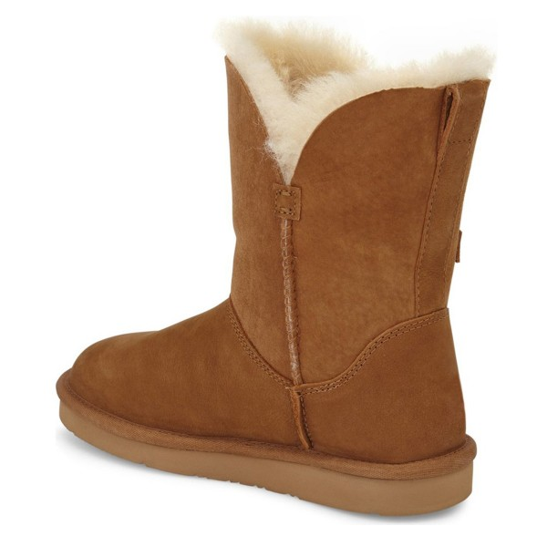 Tan Winter Boots Round Toe Flat Comfy Mid Calf Snow Boots US Size 3-15 image 2