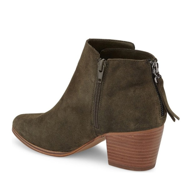 Women's Dark Green Suede Ankle Chunky Heel Boots image 3