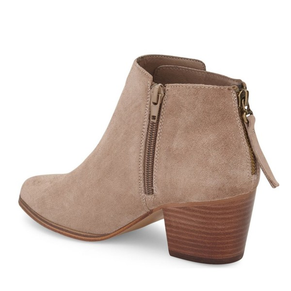 Taupe Wooden Chunky Heel Boots Suede Round Toe Short Boots image 3