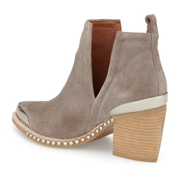 Grey Casual Boots Chunky Heel Suede Shoes with Silver Studs image 3