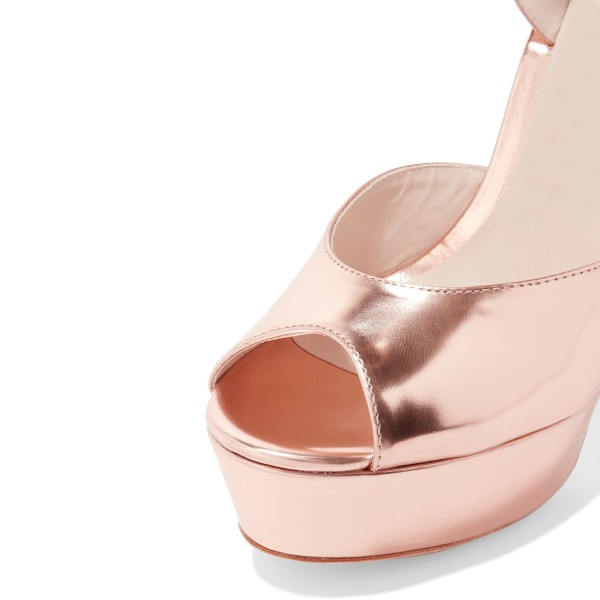 Rose Gold Shoes Peep Toe Metallic Ankle Strap Block Heel Prom Sandals image 3