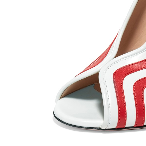 Red and White Stripes Chunky Heels Peep Toe Pumps image 3