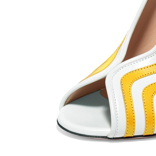 Yellow Stripes Peep Toe Heels Pumps Women's Block Heels  image 3
