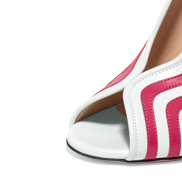 Women's Orchid and White Stripes Chunky Heels Pumps Shoes image 2